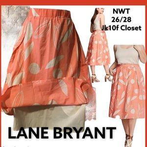 "NWT LaneBryant 26/28 LinedCotton Circle Skirt 30""L"